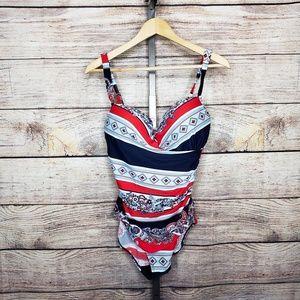 Liz Claiborne Red White & Blue Paisley Swimsuit